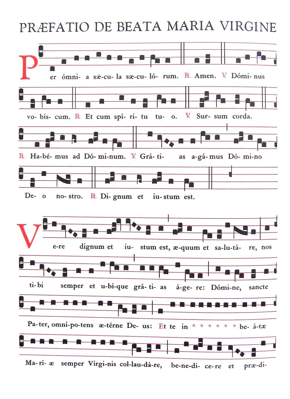 Praefatio de Beata Maria Virgine - Praefatio in tono solemniori neumy