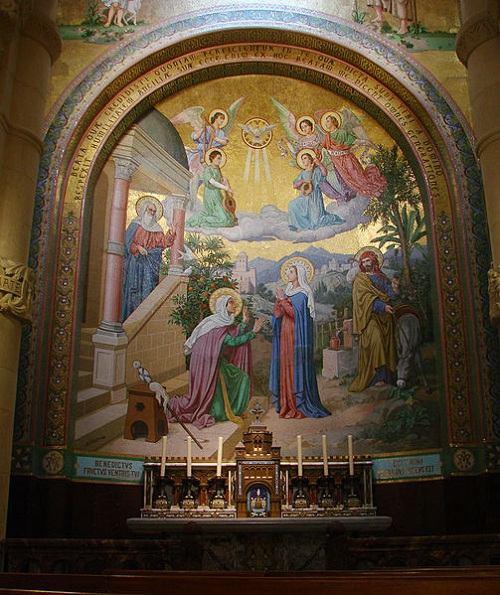 mozaika w Bazylice Matki Bożej Różańcowej w Lourdes