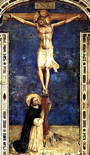Święty Dominik adoruje Krzyż